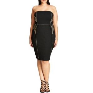 NWT City Chic Contrast Trim Strapless Dress
